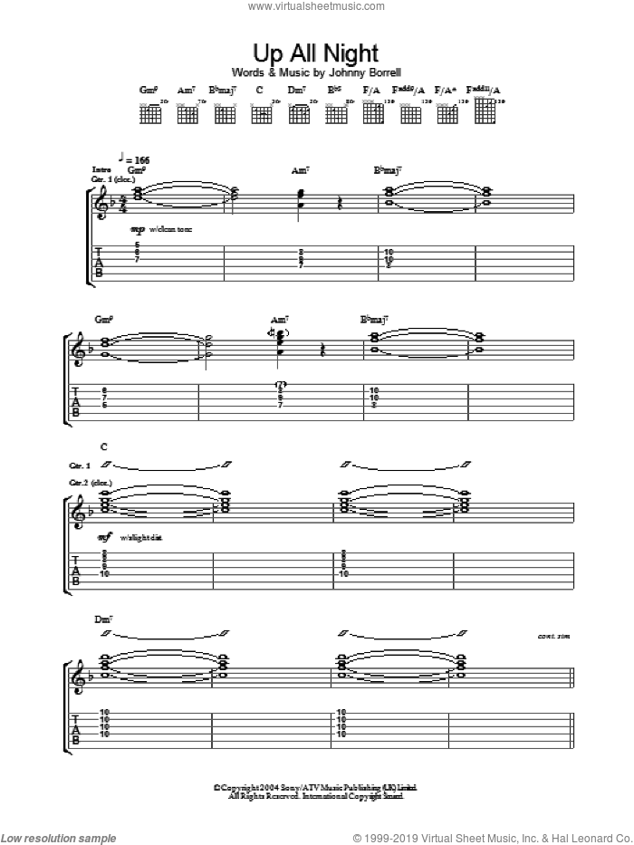 Up All Night sheet music for guitar (tablature) by Razorlight. Score Image Preview.