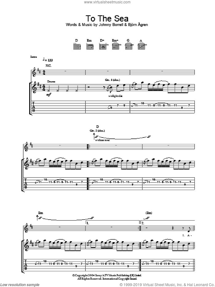 To The Sea sheet music for guitar (tablature) by Johnny Borrell and Bjorn Agren
