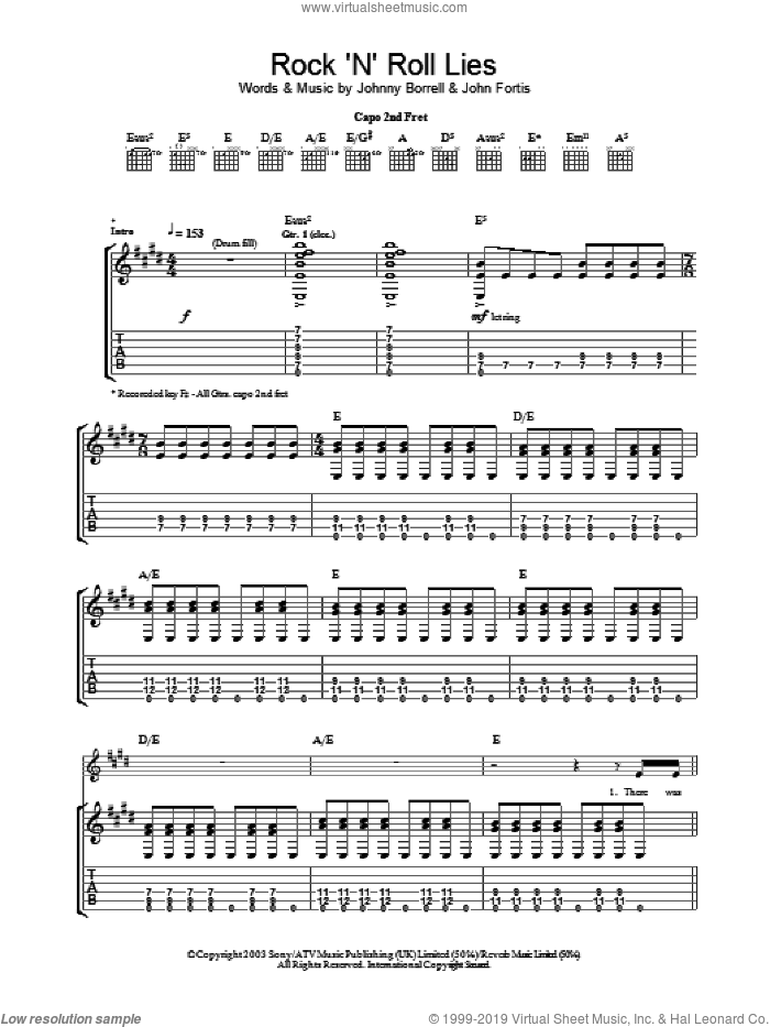 Rock 'N' Roll Lies sheet music for guitar (tablature) by Johnny Borrell and John Fortis. Score Image Preview.