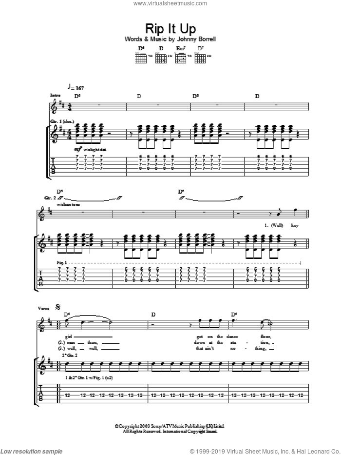 Rip It Up sheet music for guitar (tablature) by Razorlight and Johnny Borrell, intermediate skill level