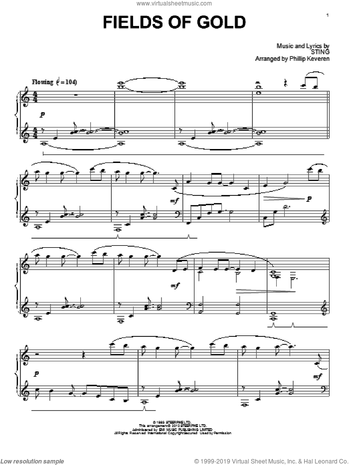 Fields Of Gold sheet music for piano solo by Sting and Phillip Keveren, intermediate skill level