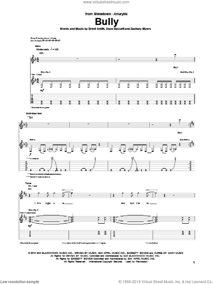 Bully sheet music for guitar (tablature) by Zachary Myers, Shinedown, Brent Smith and Dave Bassett. Score Image Preview.