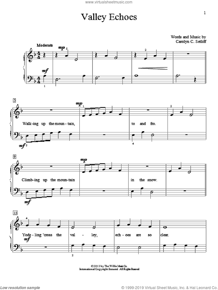 Valley Echoes sheet music for piano solo (elementary) by Carolyn C. Setliff, beginner piano (elementary). Score Image Preview.