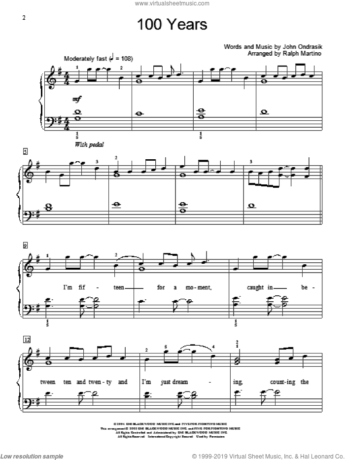 100 Years sheet music for piano solo (elementary) by Five For Fighting, Miscellaneous and John Ondrasik, beginner piano (elementary)