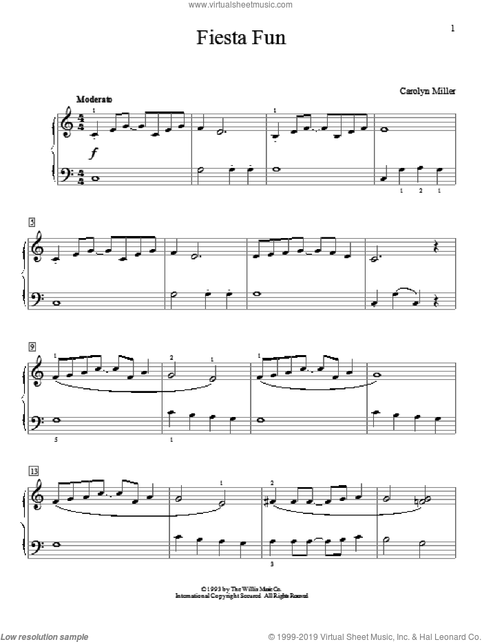 Fiesta Fun sheet music for piano solo (elementary) by Carolyn Miller, beginner piano (elementary)