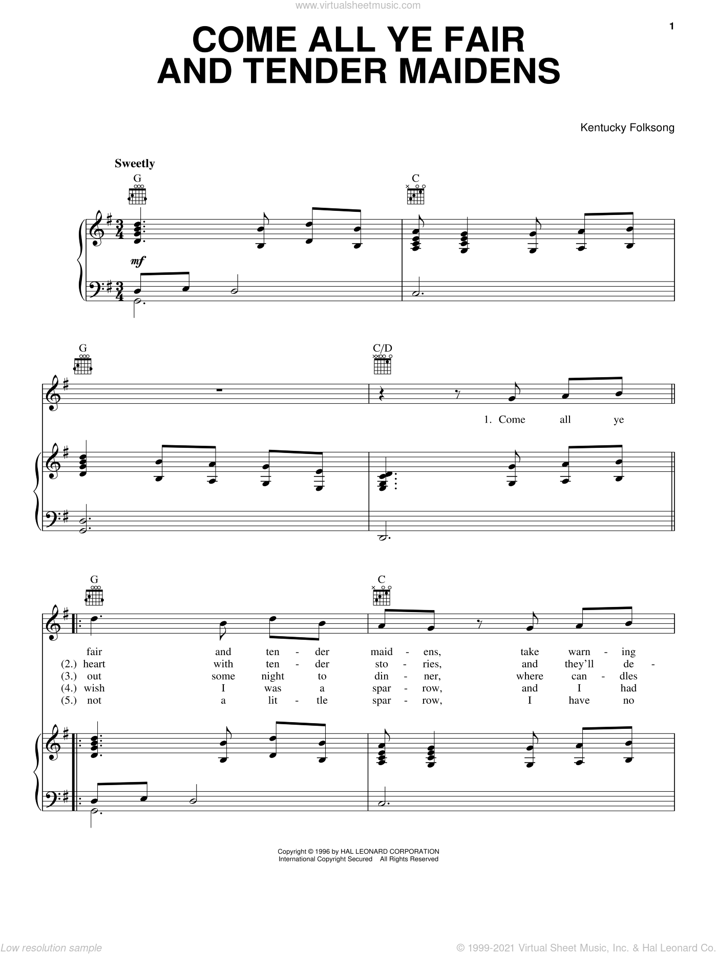 Come All Ye Fair And Tender Maidens sheet music for voice, piano or guitar by Kentucky Folksong, intermediate skill level