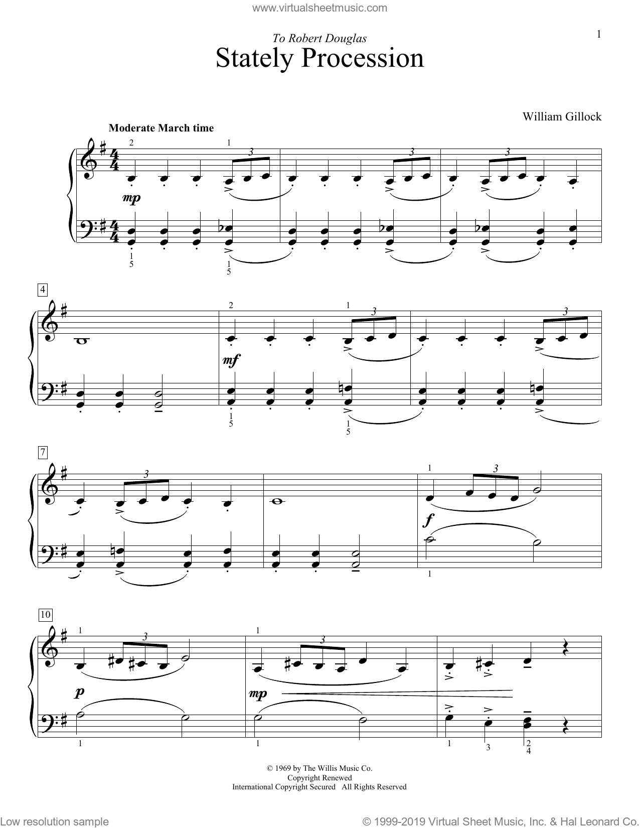 Stately Procession sheet music for piano solo (elementary) by William Gillock, beginner piano (elementary). Score Image Preview.