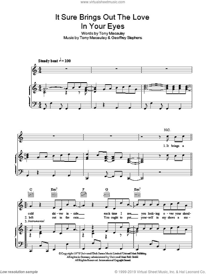 It Sure Brings Out The Love In Your Eyes sheet music for voice, piano or guitar by Tony Macaulay