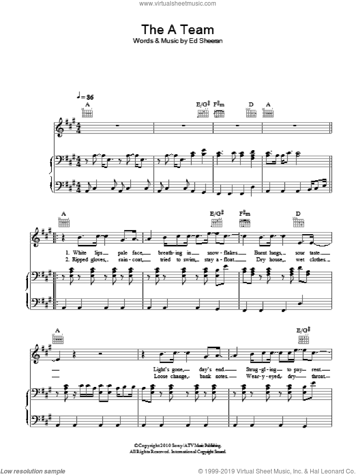 The A Team sheet music for voice, piano or guitar by Ed Sheeran, intermediate. Score Image Preview.