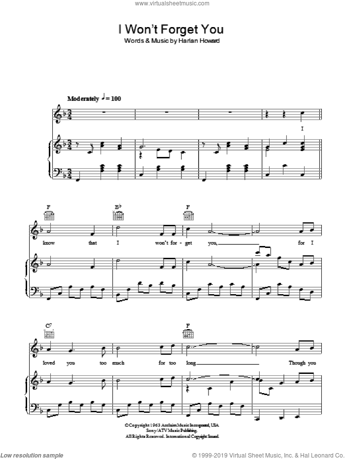 I Won't Forget You sheet music for voice, piano or guitar by Jim Reeves and Harlan Howard, intermediate. Score Image Preview.