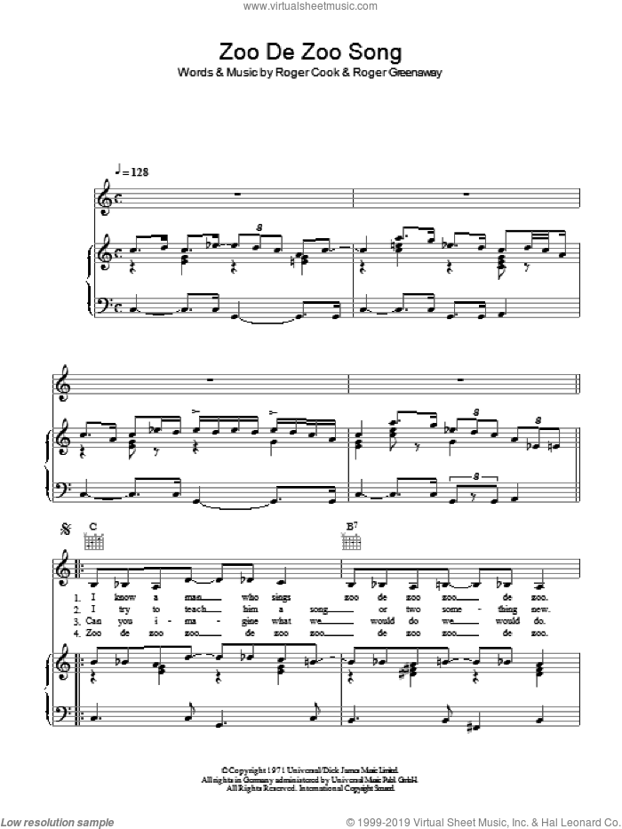 Zoo De Zoo Zong sheet music for voice, piano or guitar by Roger Greenaway and Roger Cook. Score Image Preview.