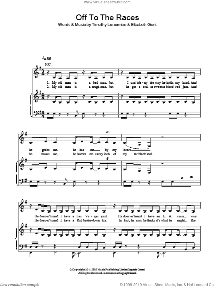 Off To The Races sheet music for voice, piano or guitar by Lana Del Rey, Elizabeth Grant and Timothy Larcombe, intermediate skill level