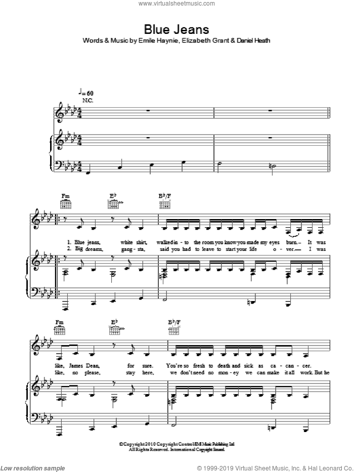 Blue Jeans sheet music for voice, piano or guitar by Lana Del Rey, Daniel Heath, Elizabeth Grant and Emile Haynie, intermediate skill level