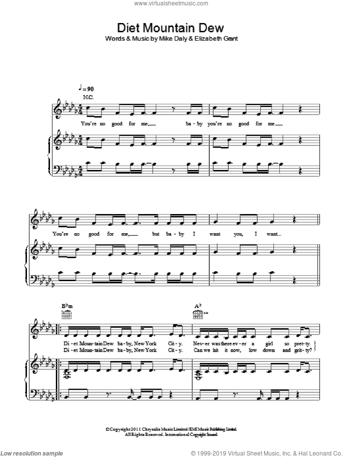 Diet Mountain Dew sheet music for voice, piano or guitar by Lana Del Rey, Elizabeth Grant and Mike Daly, intermediate skill level