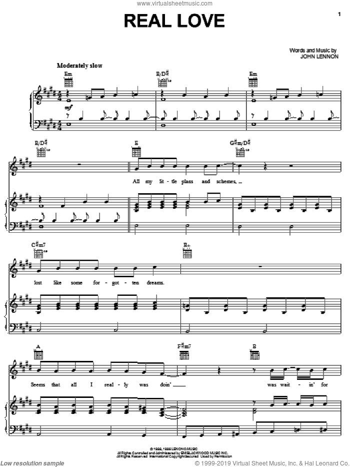 Real Love sheet music for voice, piano or guitar by The Beatles and John Lennon, intermediate skill level