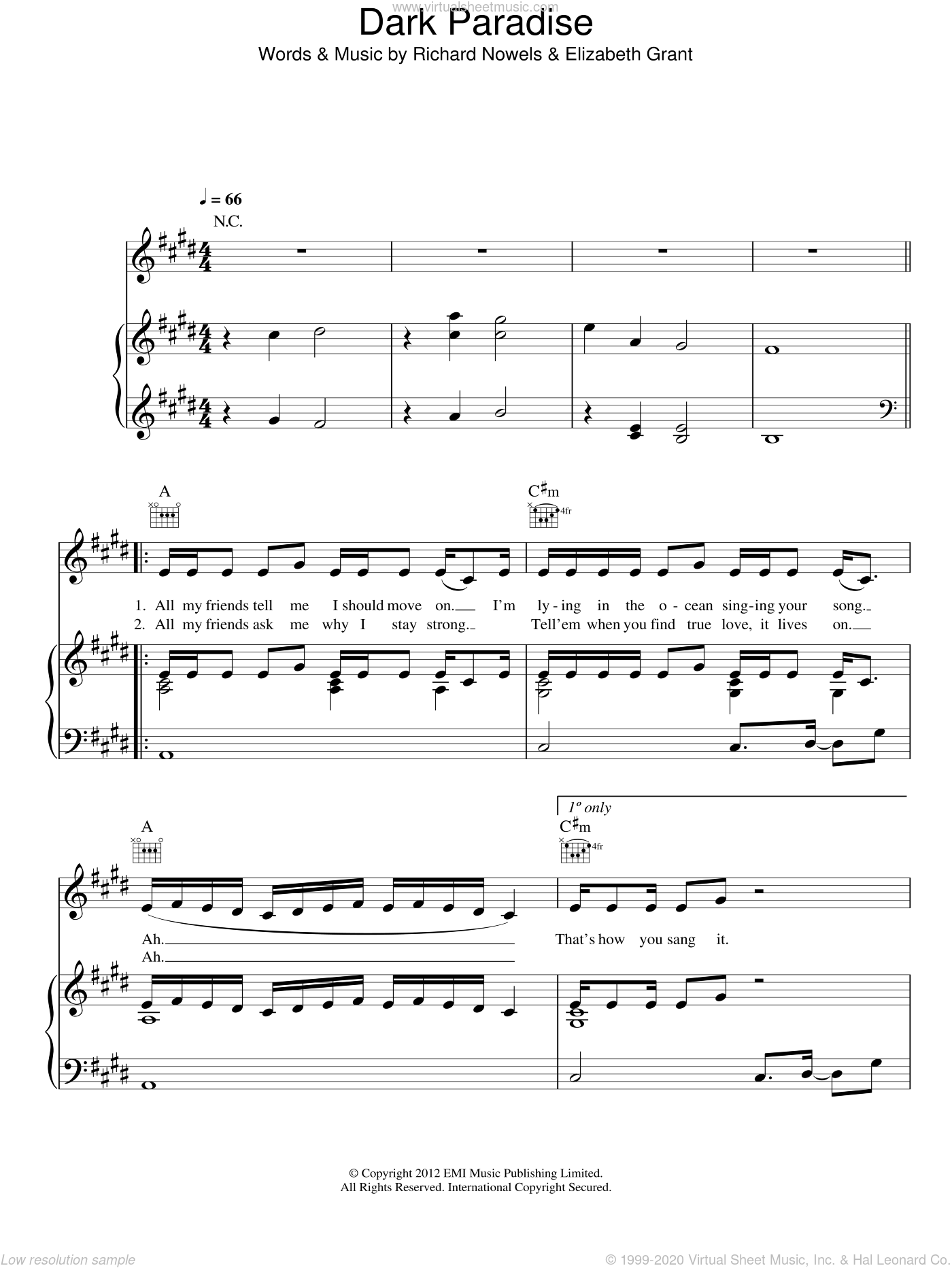 Dark Paradise sheet music for voice, piano or guitar by Lana Del Rey, Elizabeth Grant and Rick Nowels, intermediate skill level