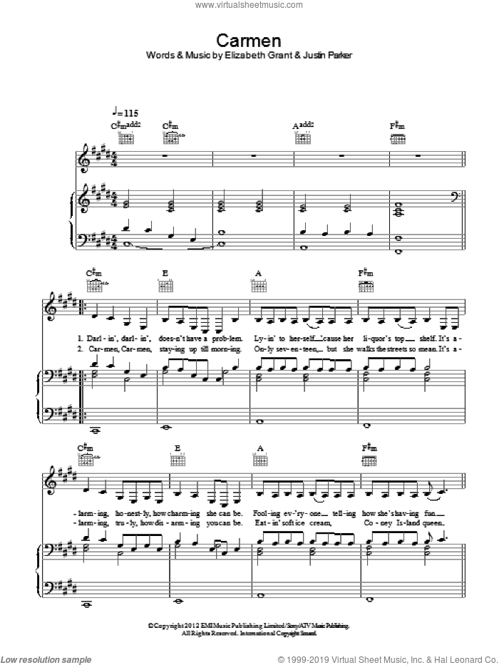 Carmen sheet music for voice, piano or guitar by Justin Parker, Lana Del Rey and Elizabeth Grant. Score Image Preview.