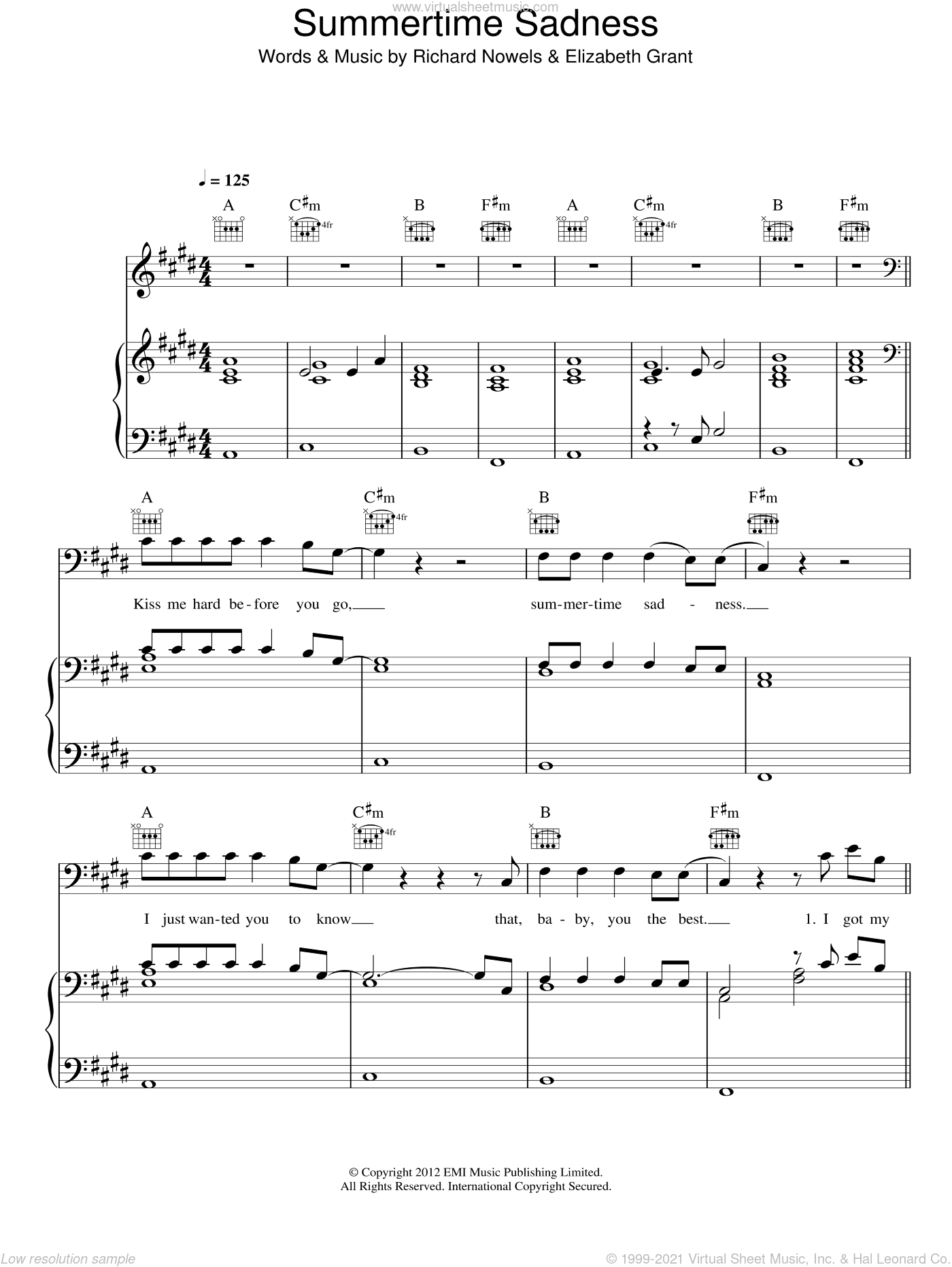 Summertime Sadness sheet music for voice, piano or guitar by Lana Del Rey, Elizabeth Grant and Rick Nowels, intermediate skill level