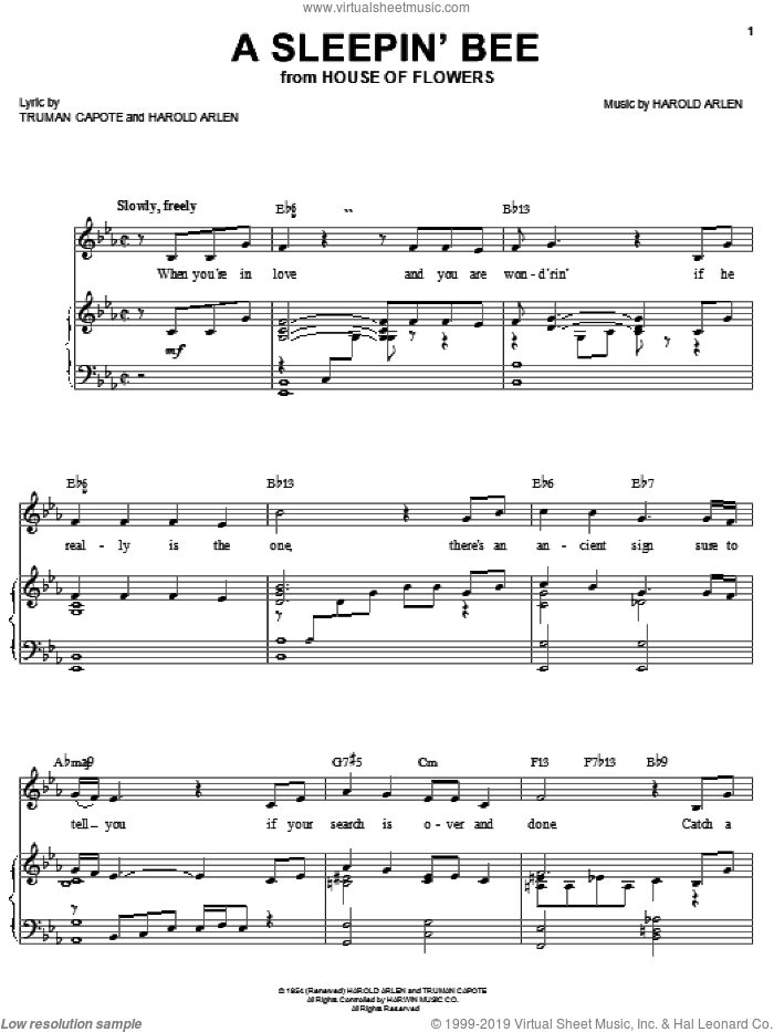 A Sleepin' Bee sheet music for voice, piano or guitar by Barbra Streisand, Harold Arlen and Truman Capote, intermediate skill level