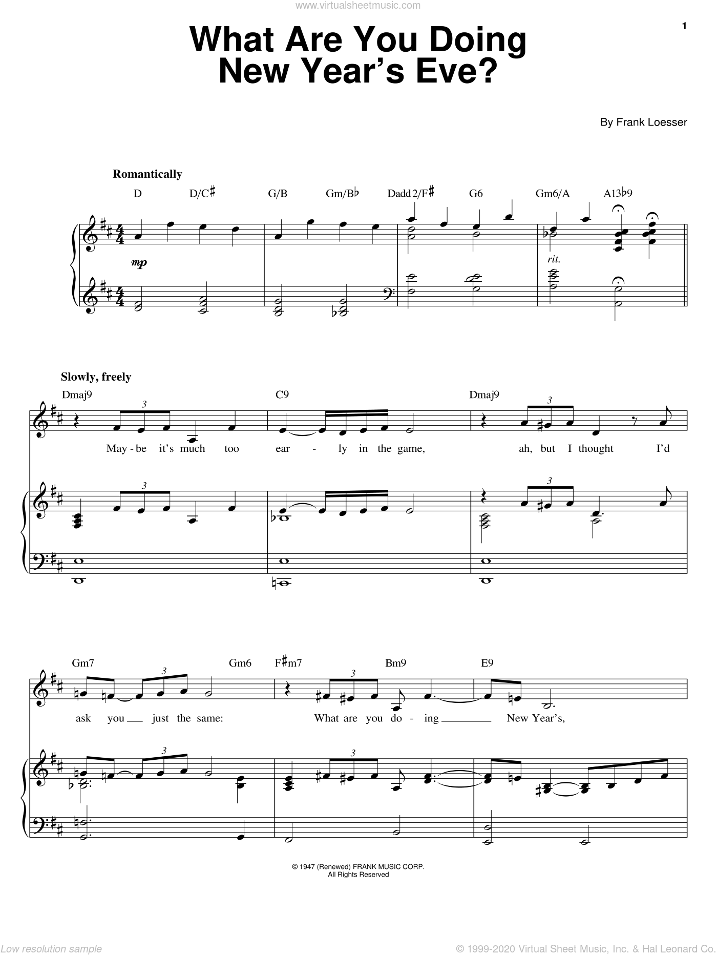 What Are You Doing New Year's Eve? sheet music for voice, piano or guitar by Barbra Streisand and Frank Loesser, intermediate skill level