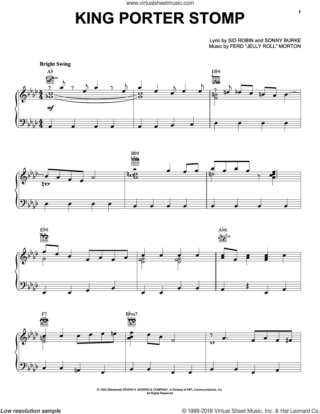 King Porter Stomp sheet music for piano solo by Jelly Roll Morton, Benny Goodman, Count Basie, Fletcher Henderson, Glenn Miller, Harry James, Ferd 'Jelly Roll' Morton, Sid Robin and Sonny Burke, intermediate skill level