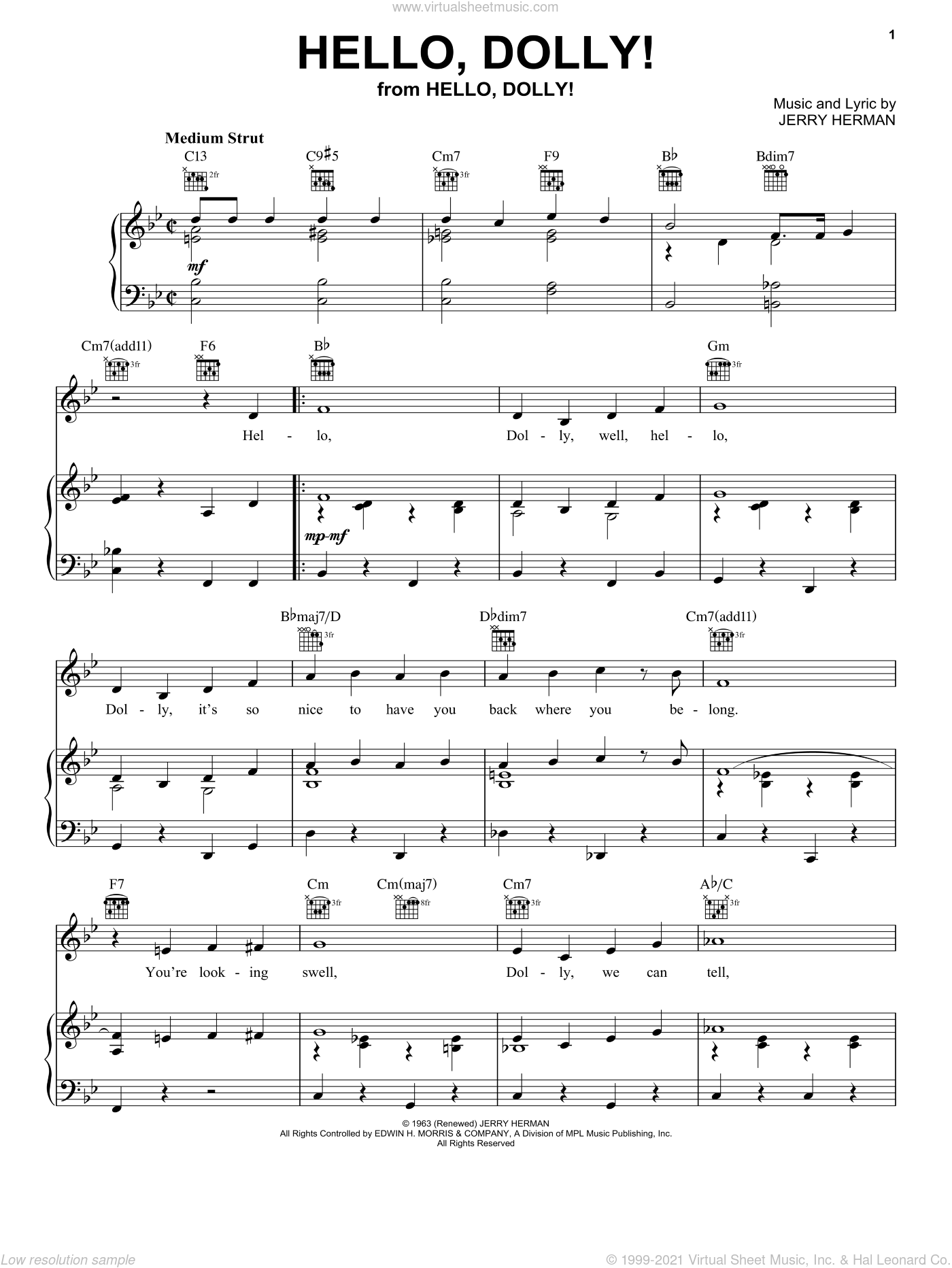 Hello, Dolly! sheet music for voice, piano or guitar by Louis Armstrong, Bobby Darin, Hello, Dolly! (Musical) and Jerry Herman, intermediate skill level
