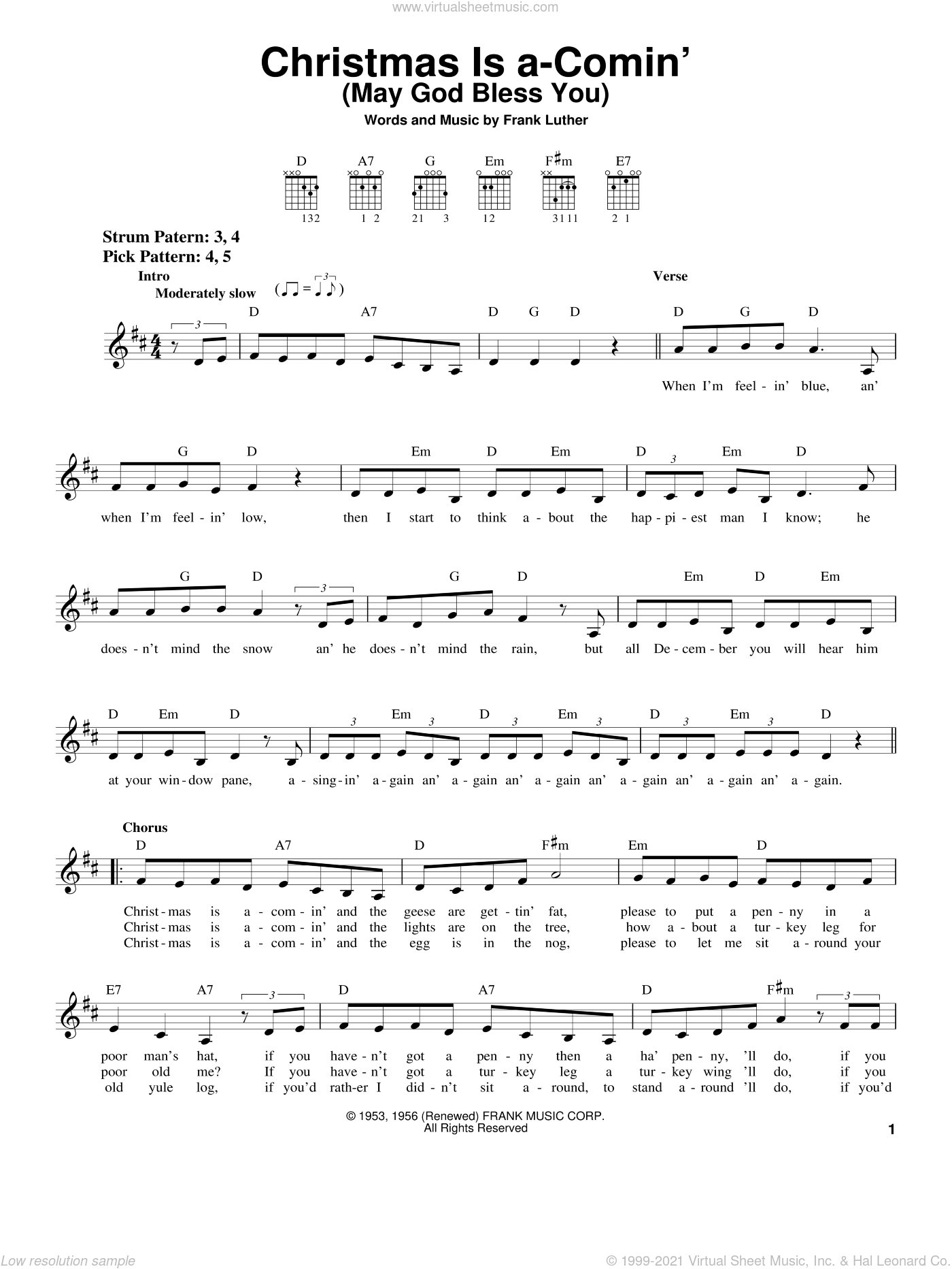 Christmas Is A-Comin' (May God Bless You) sheet music for guitar solo (chords) by Frank Luther, easy guitar (chords)