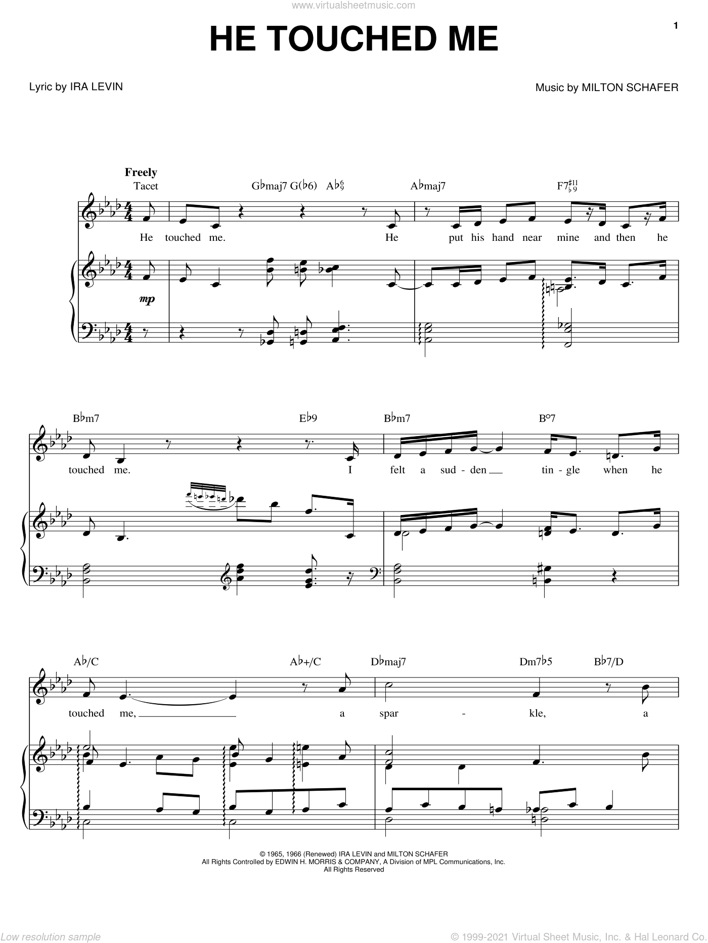 He Touched Me sheet music for voice, piano or guitar by Barbra Streisand, Ira Levin and Milton Schafer, intermediate skill level