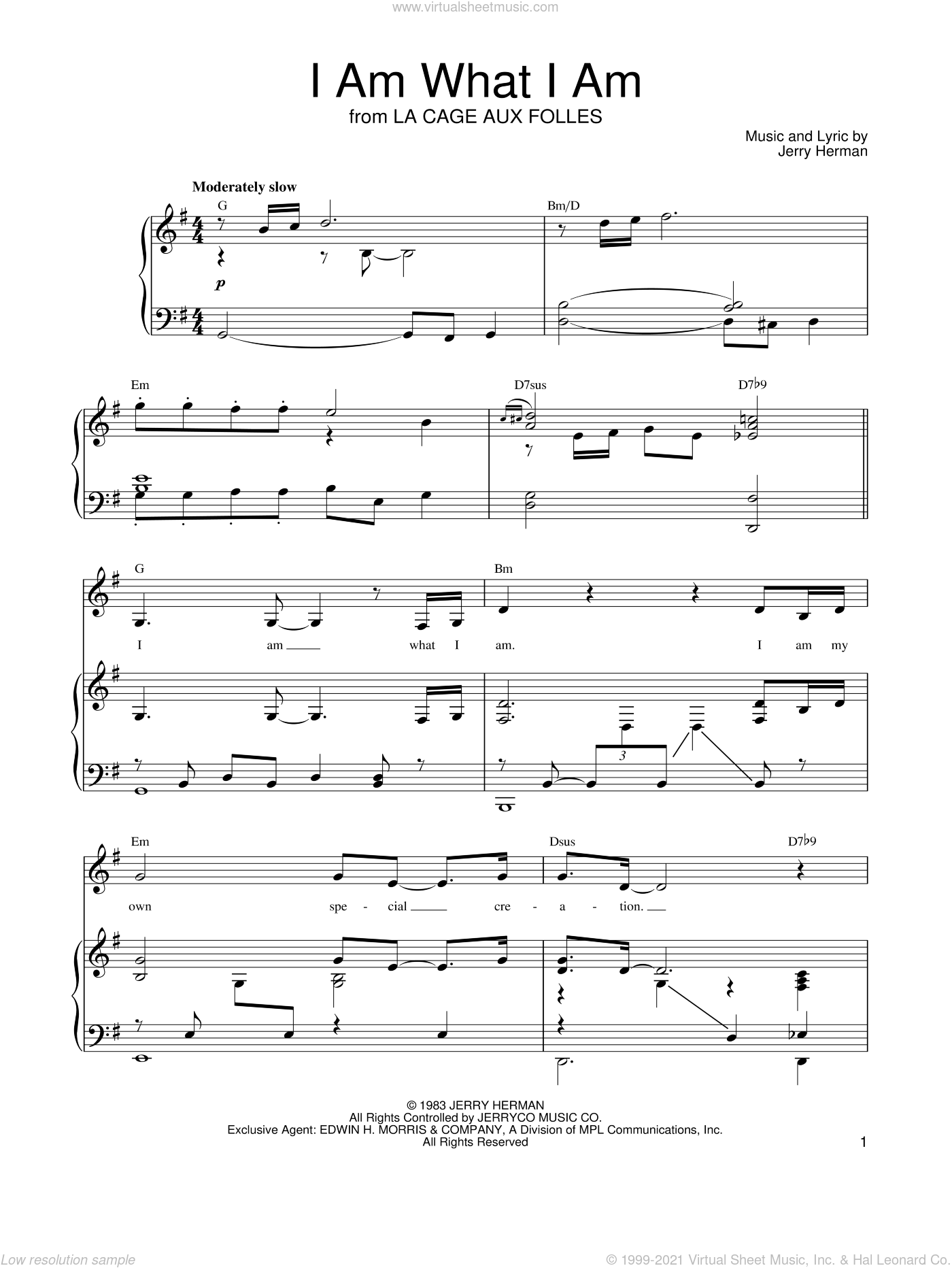 I Am What I Am (from La Cage Aux Folles) sheet music for voice, piano or guitar by Linda Eder, Gloria Gaynor, Shirley Bassey and Jerry Herman, intermediate skill level