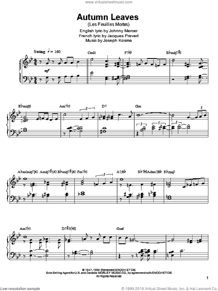 Autumn Leaves sheet music for piano solo (transcription) by Kenny Werner, Ahmad Jamal, Bill Evans, Cannonball Adderley, Miles Davis, Stan Getz, Jacques Prevert, Johnny Mercer and Joseph Kosma, intermediate piano (transcription)