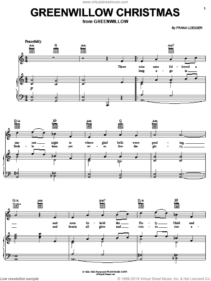 Greenwillow Christmas sheet music for voice, piano or guitar by Frank Loesser, intermediate skill level