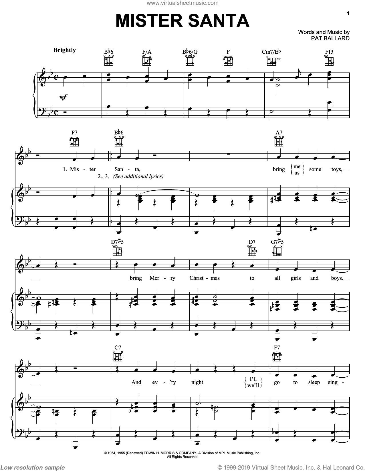 Mister Santa sheet music for voice, piano or guitar by Pat Ballard, intermediate skill level