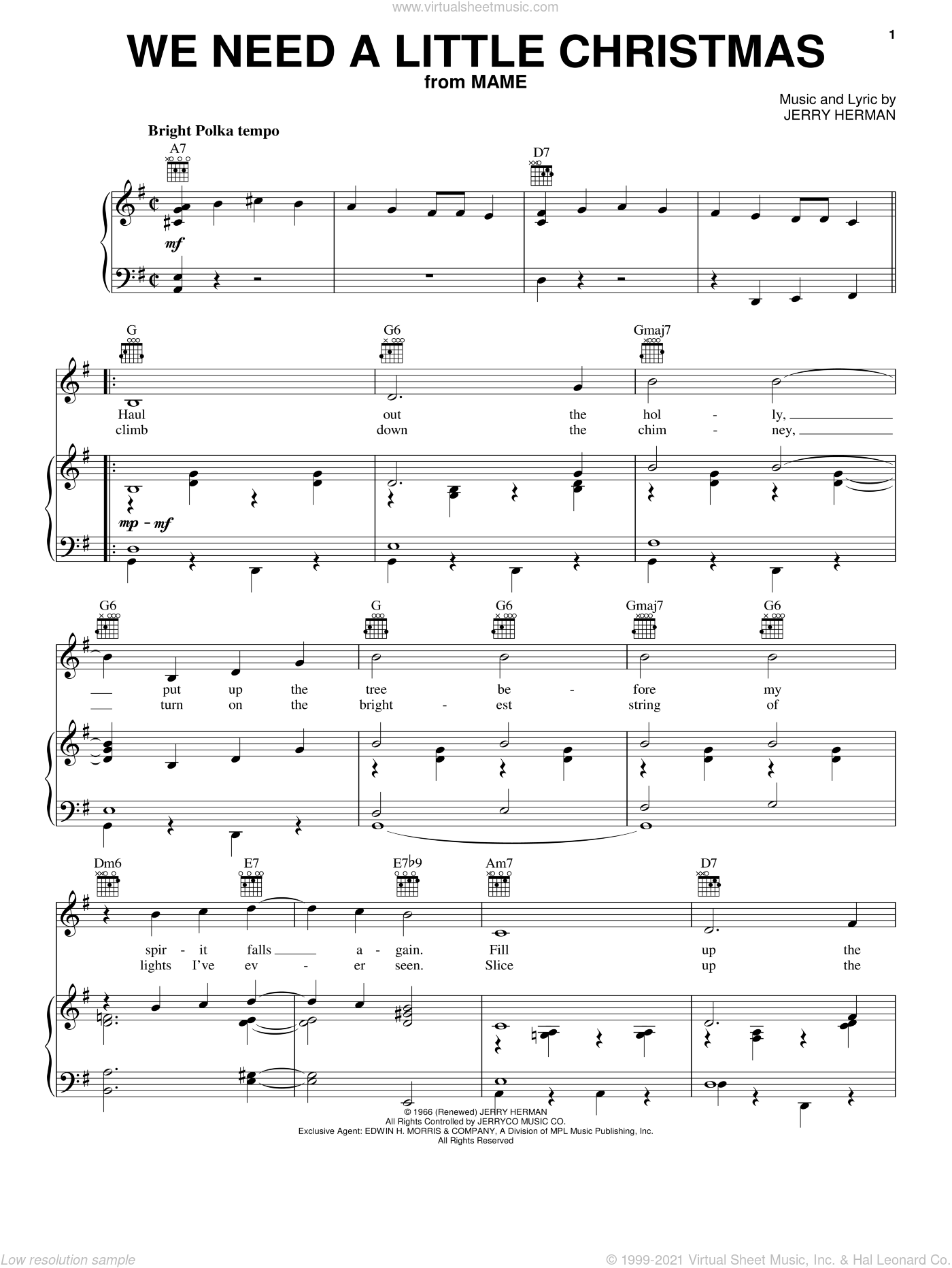 We Need A Little Christmas sheet music for voice, piano or guitar by Angela Lansbury, Mame (Musical) and Jerry Herman, intermediate skill level