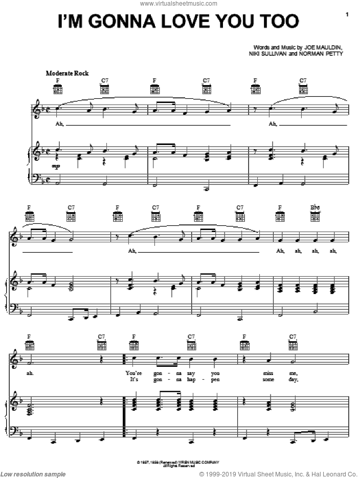I'm Gonna Love You Too sheet music for voice, piano or guitar by Blondie, Joe Mauldin, Niki Sullivan and Norman Petty, intermediate skill level