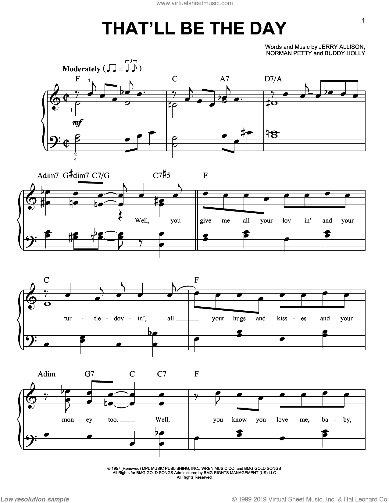 That'll Be The Day sheet music for piano solo by Buddy Holly, The Crickets, Jerry Allison and Norman Petty, easy skill level