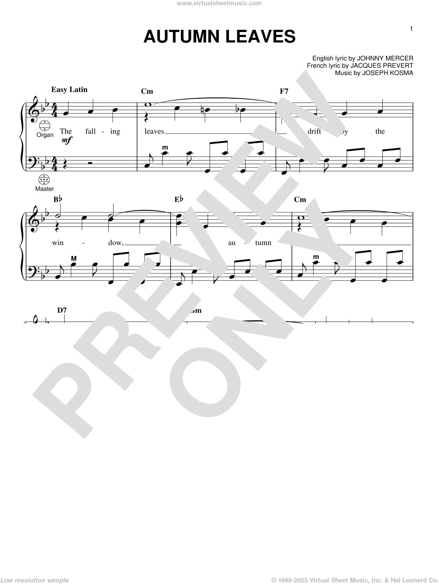 Autumn Leaves sheet music for accordion by Miles Davis, Gary Meisner, Jacques Prevert, Johnny Mercer and Joseph Kosma, intermediate skill level