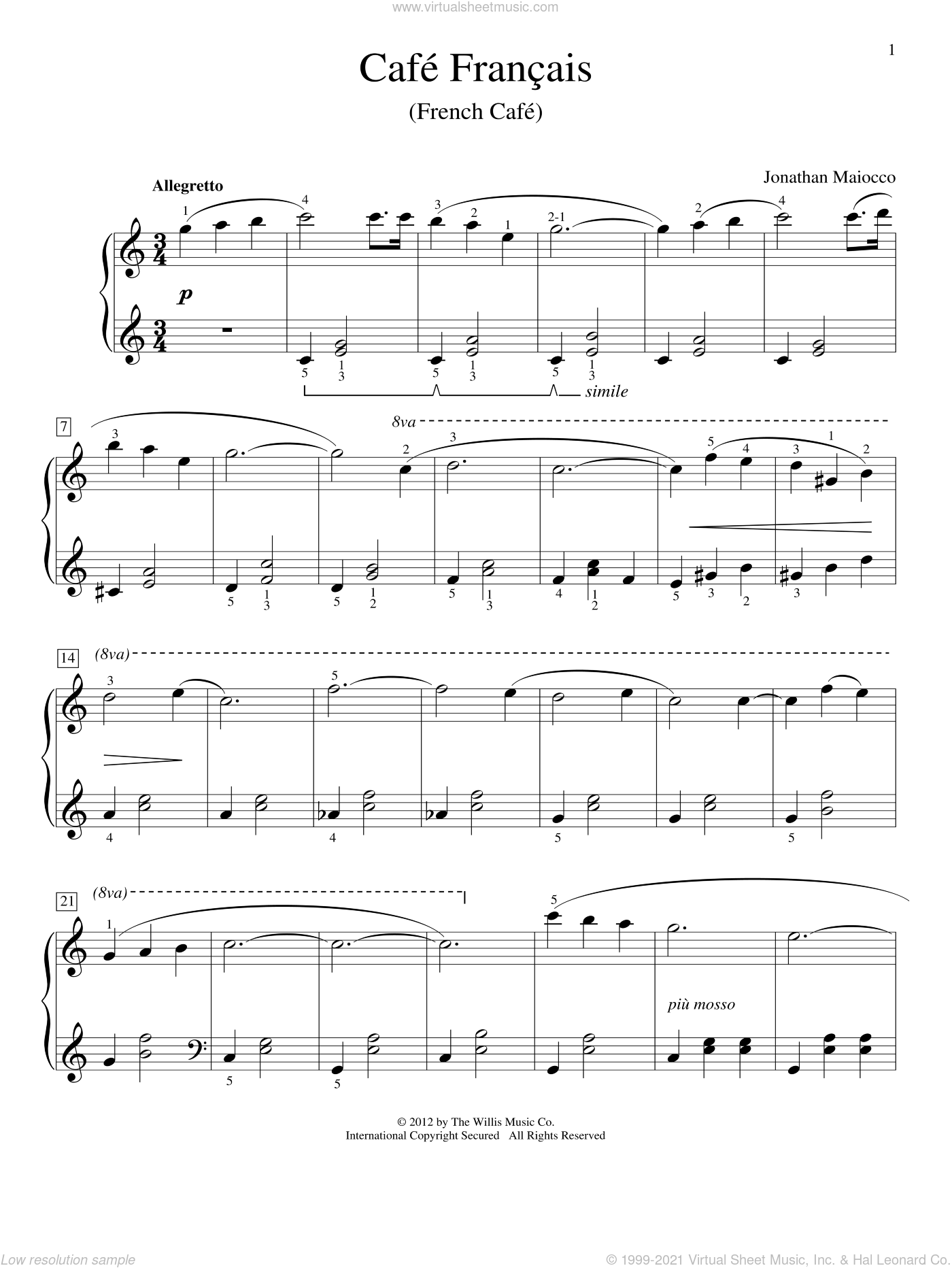 Cafe Francais (French Cafe) sheet music for piano solo (elementary) by Jonathan Maiocco, classical score, beginner piano (elementary)