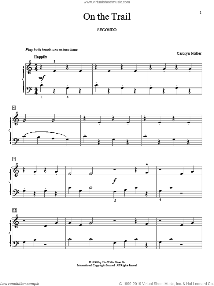 On The Trail sheet music for piano four hands (duets) by Carolyn Miller. Score Image Preview.