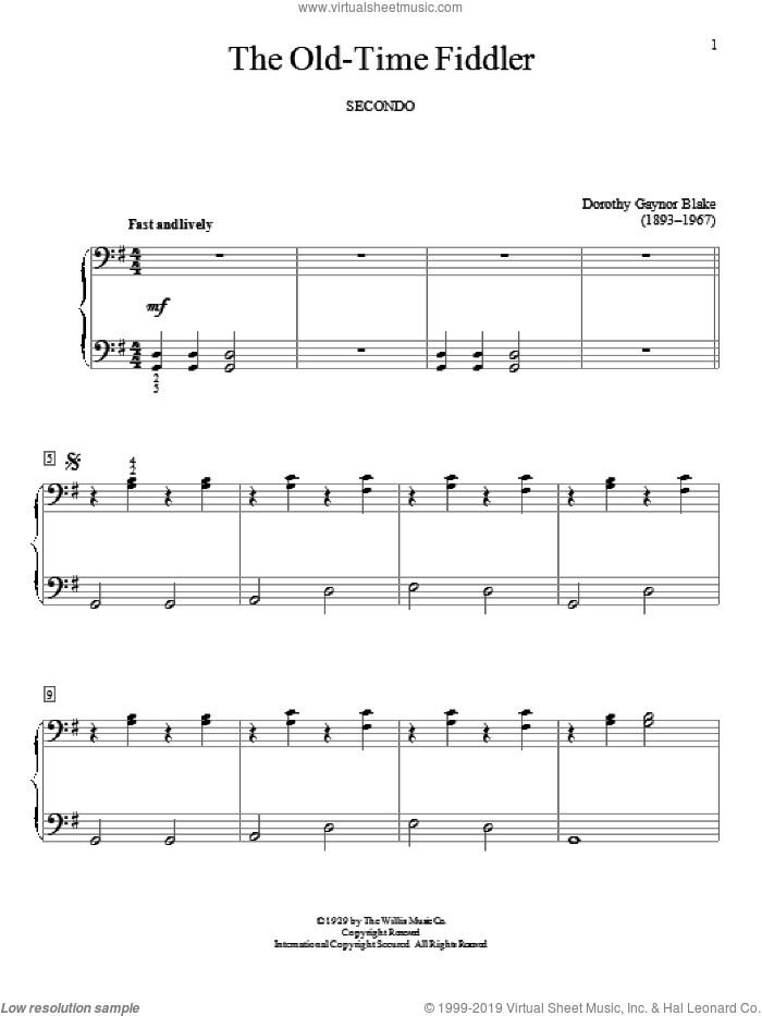 The Old-Time Fiddler sheet music for piano four hands (duets) by Dorothy Gaynor Blake. Score Image Preview.