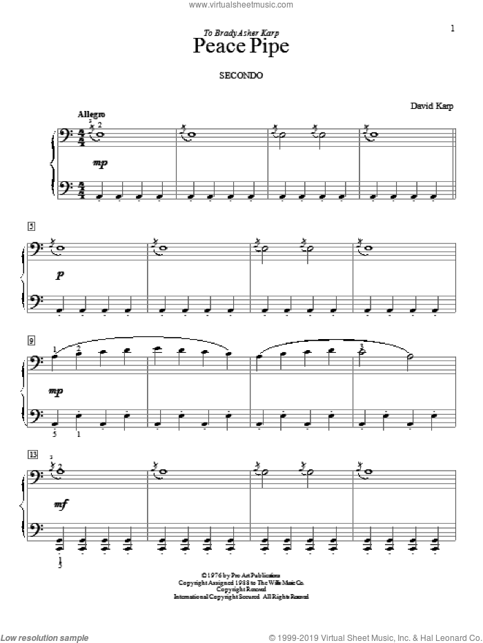 Peace Pipe sheet music for piano four hands by David Karp, intermediate skill level