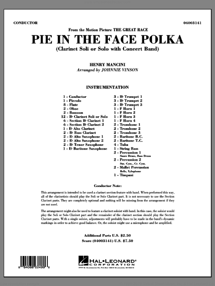 Pie In The Face Polka (COMPLETE) sheet music for concert band by Henry Mancini and Johnnie Vinson, intermediate. Score Image Preview.