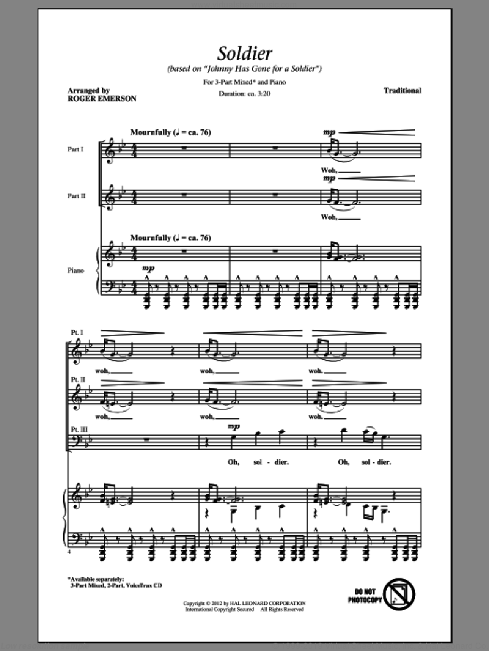 Soldier (Based on 'Johnny Has Gone For A Soldier') sheet music for choir (3-Part Mixed) by Roger Emerson, intermediate skill level