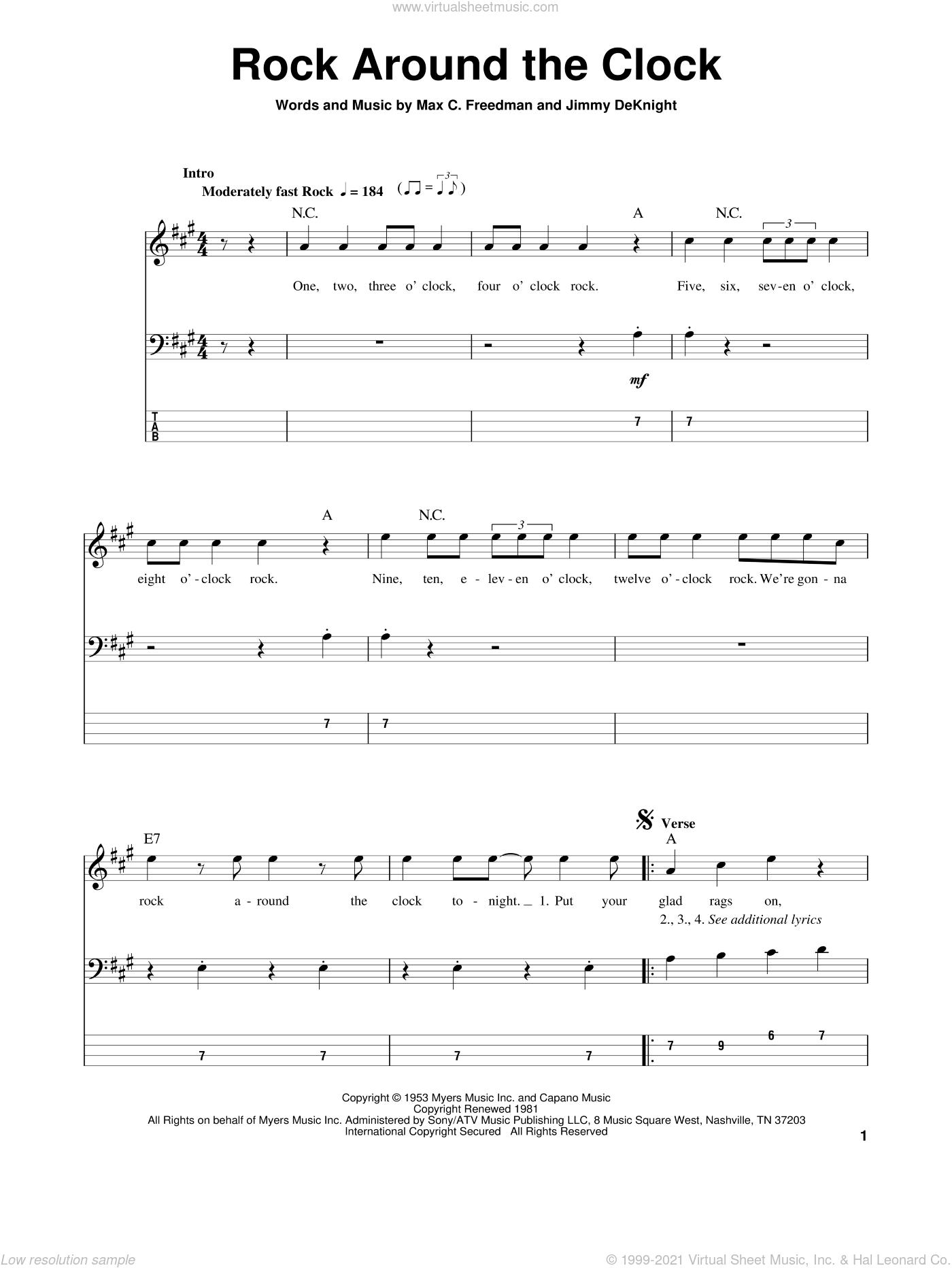 Rock Around The Clock sheet music for bass (tablature) (bass guitar) by Bill Haley & His Comets, Jimmy DeKnight and Max C. Freedman, intermediate skill level