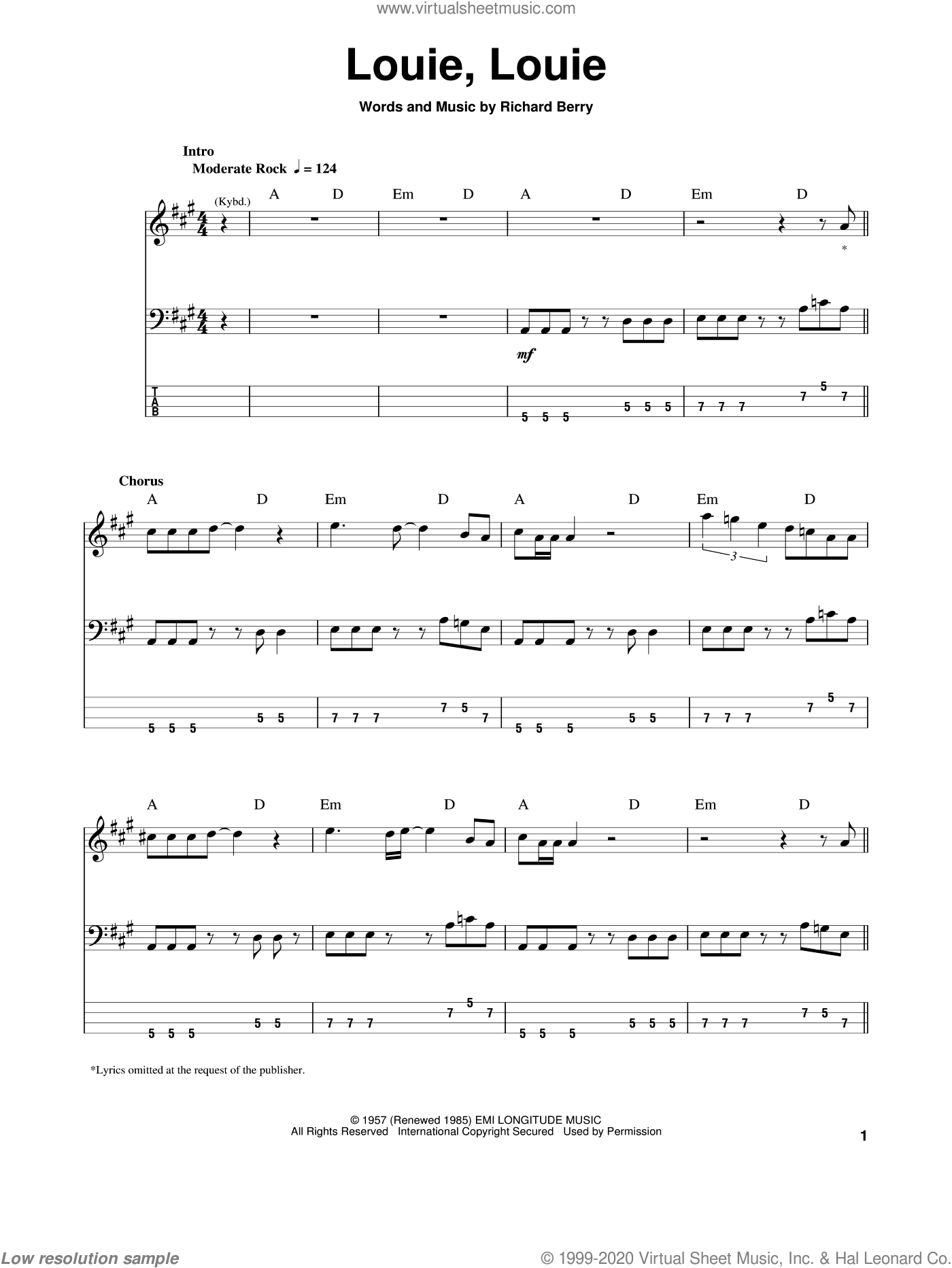 Louie, Louie sheet music for bass (tablature) (bass guitar) by The Kingsmen and Richard Berry, intermediate skill level