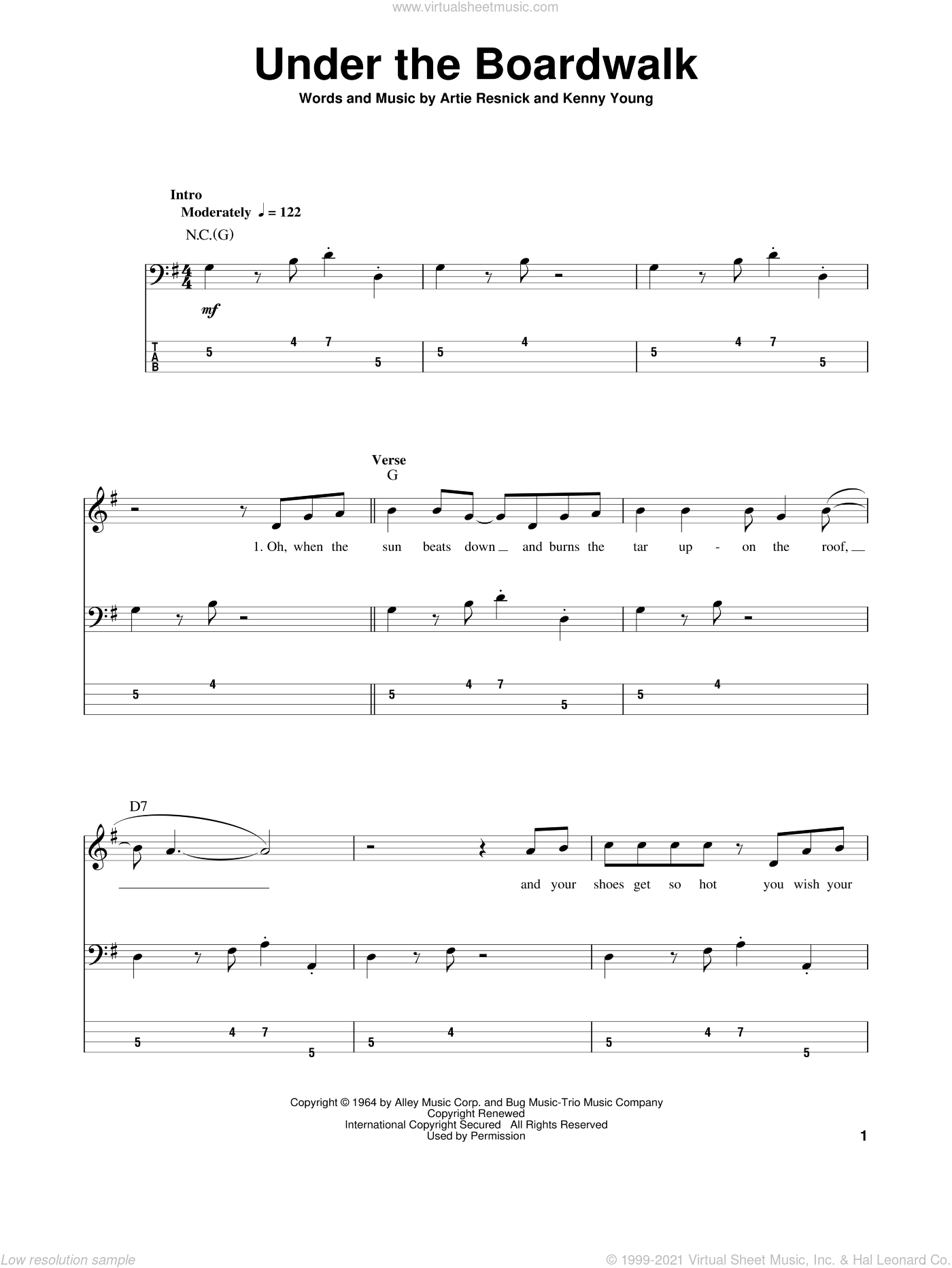 Under The Boardwalk sheet music for bass (tablature) (bass guitar) by Kenny Young