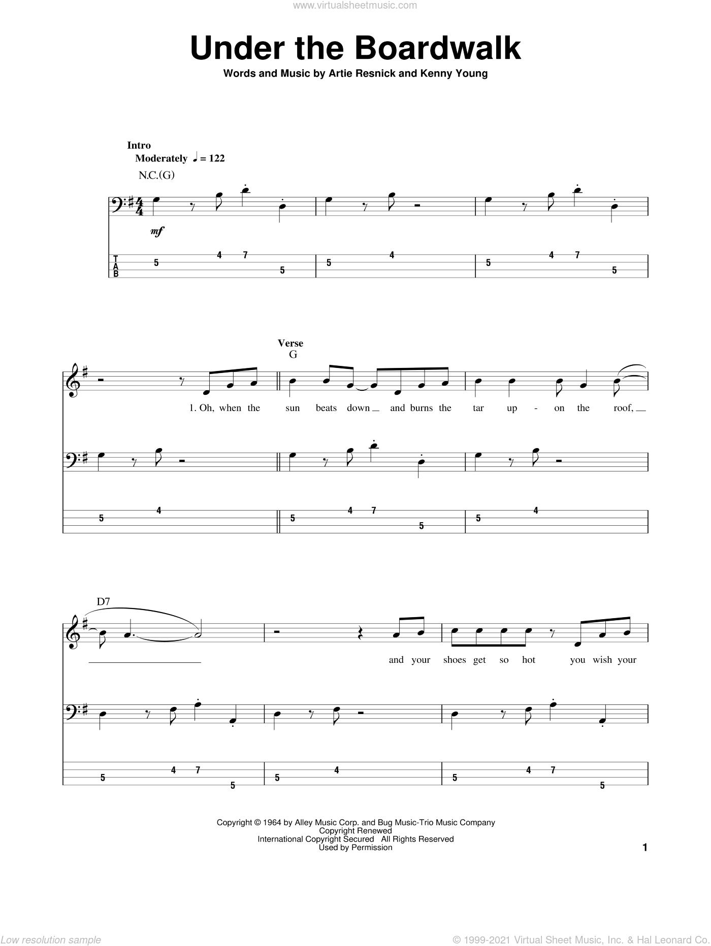 Drifters - Under The Boardwalk sheet music for bass (tablature) (bass  guitar)