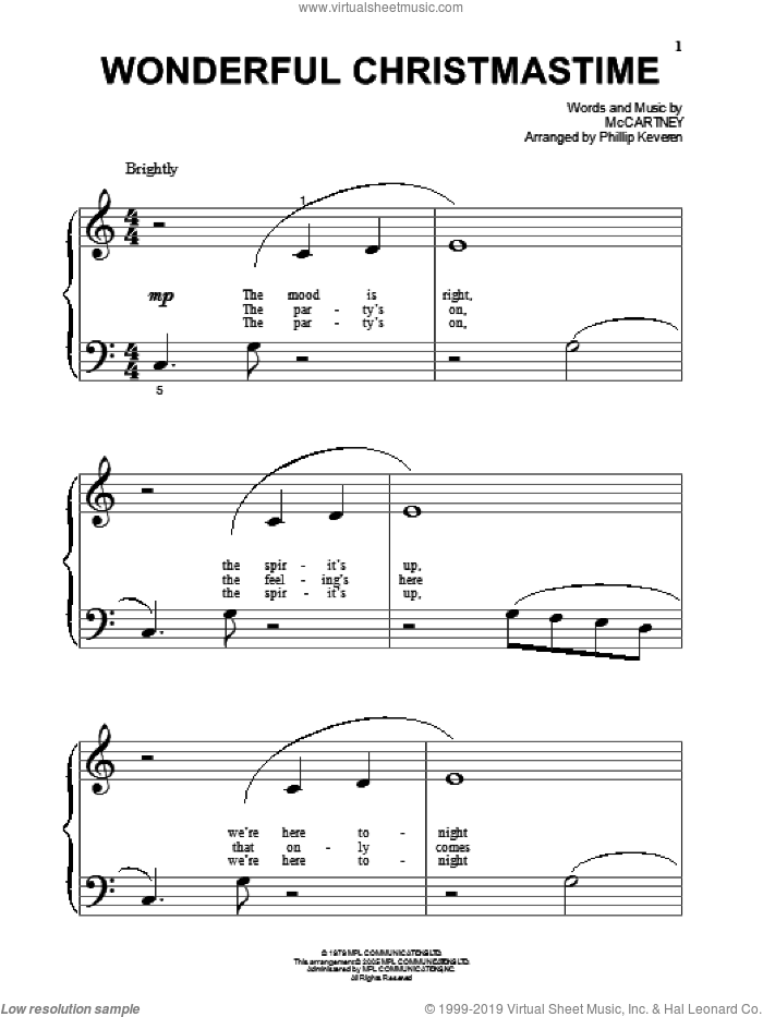 Wonderful Christmastime sheet music for piano solo (big note book) by Paul McCartney and Phillip Keveren, easy piano (big note book)