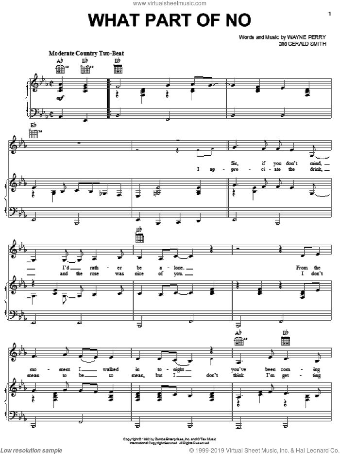 What Part Of No sheet music for voice, piano or guitar by Lorrie Morgan, intermediate voice, piano or guitar. Score Image Preview.
