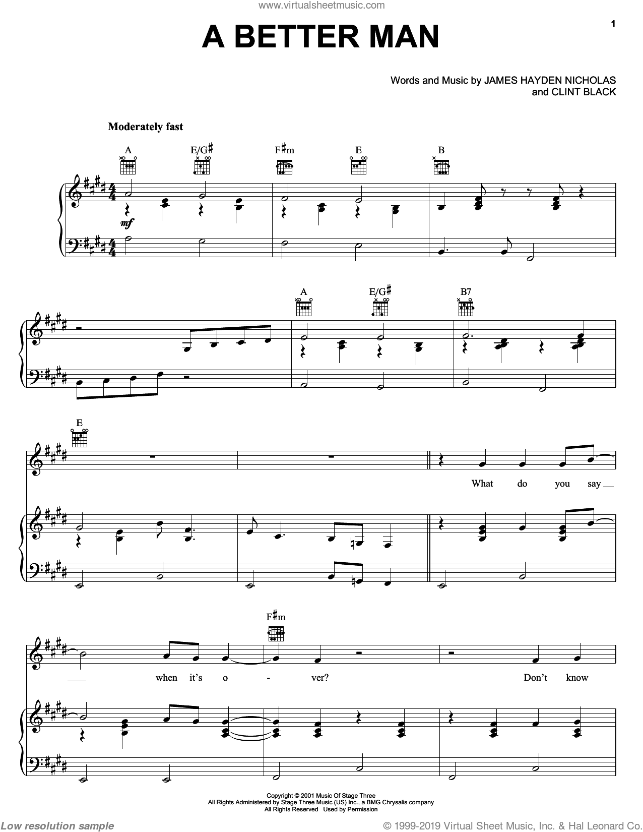 A Better Man sheet music for voice, piano or guitar by Clint Black and James Hayden Nicholas. Score Image Preview.