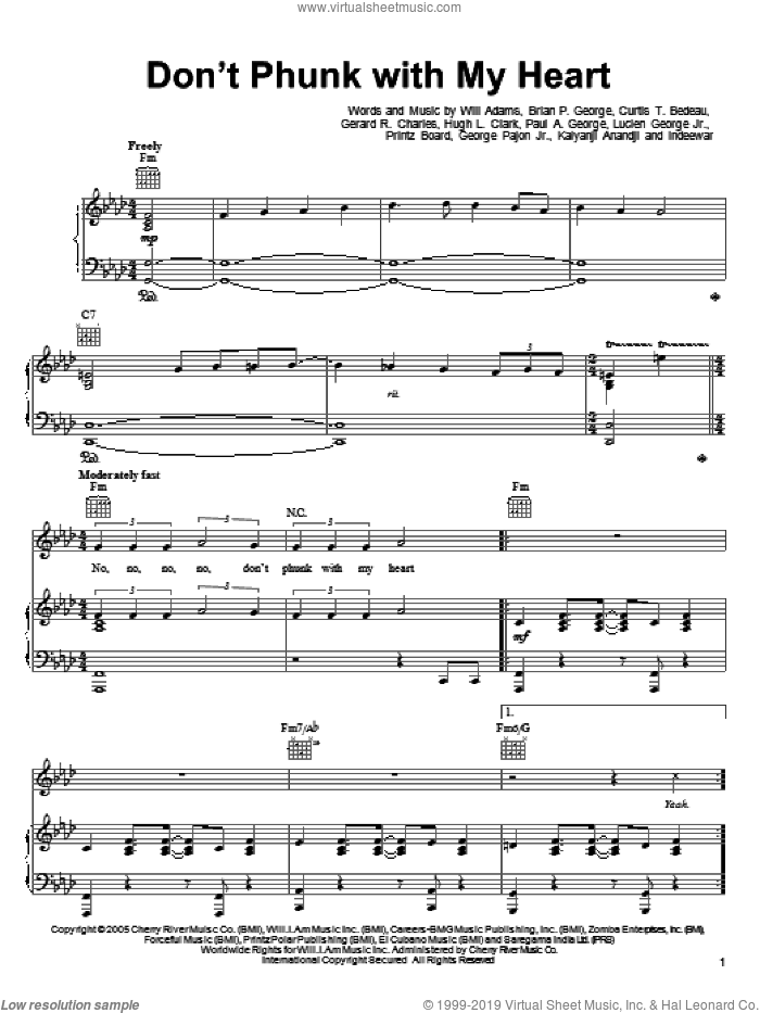 Don't Phunk With My Heart sheet music for voice, piano or guitar by Black Eyed Peas and Will Adams. Score Image Preview.